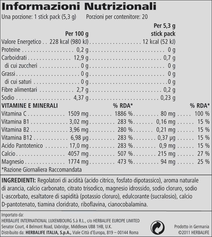 Hydrate H24 informazioni nutrizionali