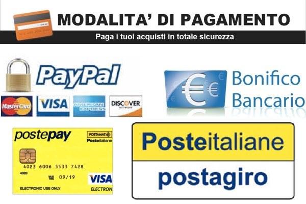 Puoi pagare con Paypal (Carta Credito), bonifico bancario, postagiro postale o ricarica Postepay